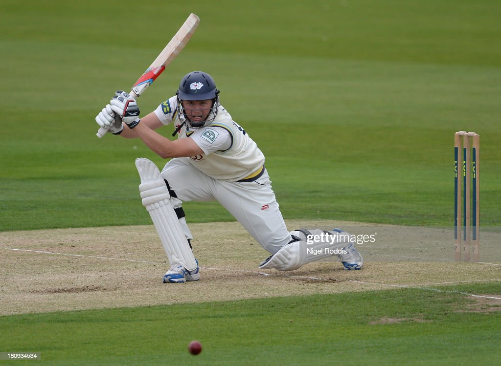 Gary Ballance of Yorkshire plays a shot during day two of the LV County Championship Division One match between Yorkshire and Middlesex at Headingley Stadium on September 18, 2013 in Leeds, England.