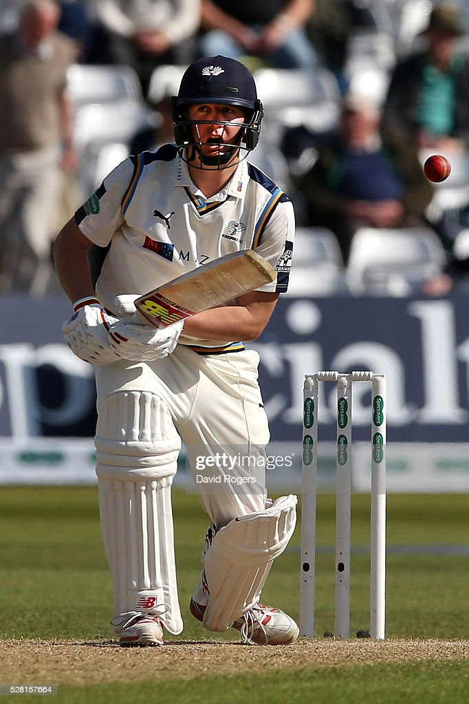 <a gi-track='captionPersonalityLinkClicked' href=/galleries/search?phrase=Gary+Ballance&family=editorial&specificpeople=7811120 ng-click='$event.stopPropagation()'>Gary Ballance</a> of Yorkshire plays the ball during the Specsavers County Championship division one match between Nottinghamshire and Yorkshire at Trent Bridge on May 4, 2016 in Nottingham, England.