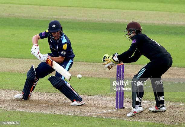 Gary Ballance of Yorkshire Vikings hits out during the Royal London OneDay Cup Play Off between Yorkshire Vikings and Surrey at Headingley on June 13...