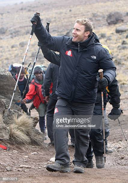 Gary Barlow arrives in camp on the third day of The BT Red Nose Climb of Kilimanjaro on March 4 2009 in Arusha Tanzania Celebrities Ronan Keating...