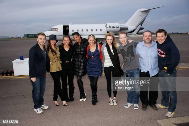 Gary Barlow Cheryl Cole Kimberley Walsh Alysha Dixon Denise Van Outen Fearne Cotton Ronan Keating Chris Moyles and Ben Shepard arrive back in the UK...