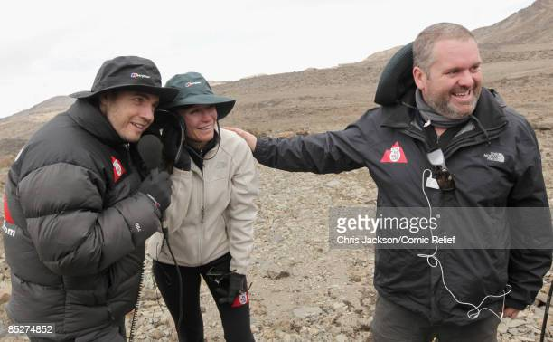 Gary Barlow Denise Van Outen and Chris Moyles record a live phone in for radio one on day six day of The BT Red Nose Climb of Kilimanjaro on March 5...