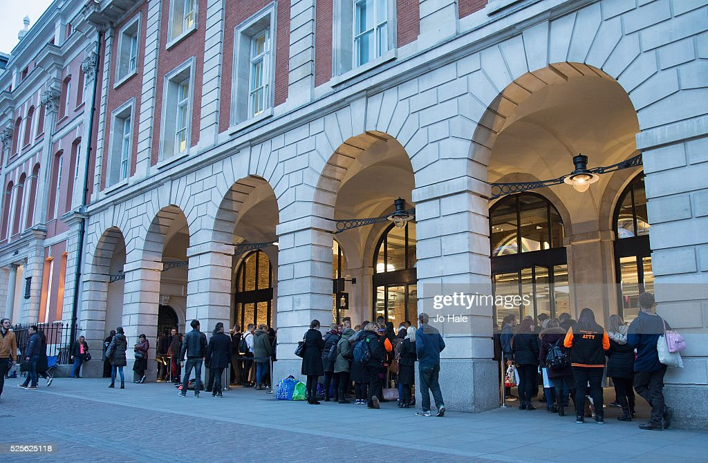 Gary Barlow Fans queue outside the Inside The Music With Gary Barlow Event at Apple store, Covent Garden on April 28, 2016 in London, England.