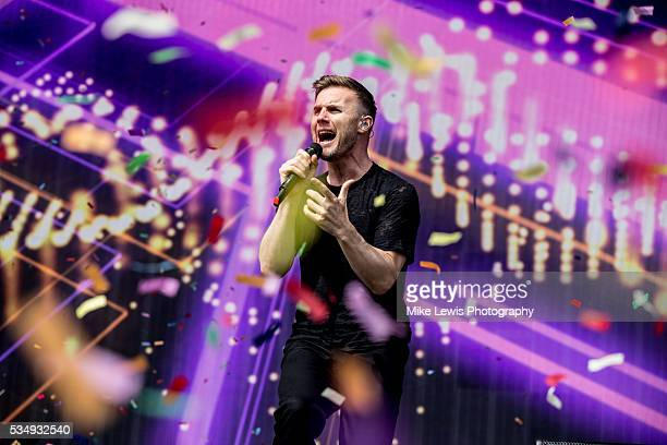Gary Barlow from Take That performs with Sigma at Powderham Castle on May 28 2016 in Exeter England