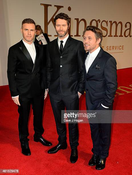 Gary Barlow Howard Donald and Mark Owen from Take That attend the World Premiere of 'Kingsman The Secret Service' at the Odeon Leicester Square on...