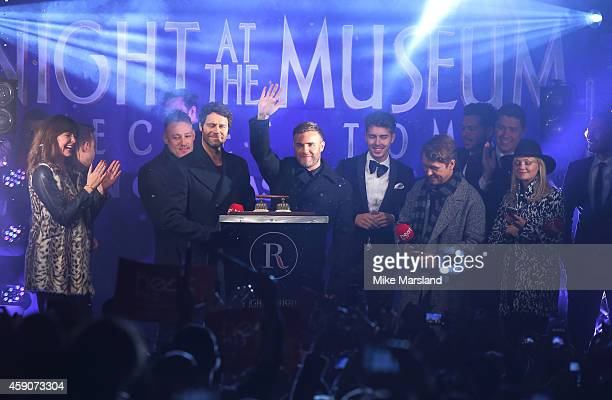 Gary Barlow Howard Donald and Mark Owen of Take That Emma Bunton attend as the Regent Street Christmas Lights are switched on by Take That at Regent...