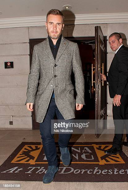 Gary Barlow is sighted leaving the Dorchester Hotel Mayfair on October 20 2013 in London England