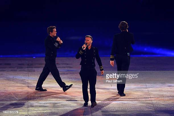 Gary Barlow of Take That perform during the Closing Ceremony on Day 16 of the London 2012 Olympic Games at Olympic Stadium on August 12 2012 in...