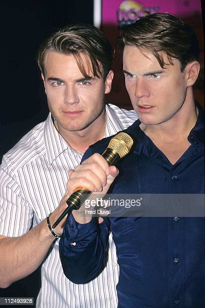 Gary Barlow of Take That with wax likeness during Gary Barlow Waxwork May 1 1997 at The Rock Circus in London United Kingdom