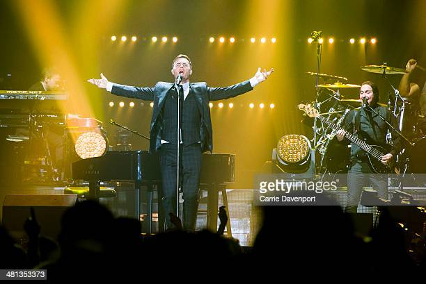 Gary Barlow performs on the opening night of his UK tour at Odyssey Arena on March 29 2014 in Belfast Northern Ireland