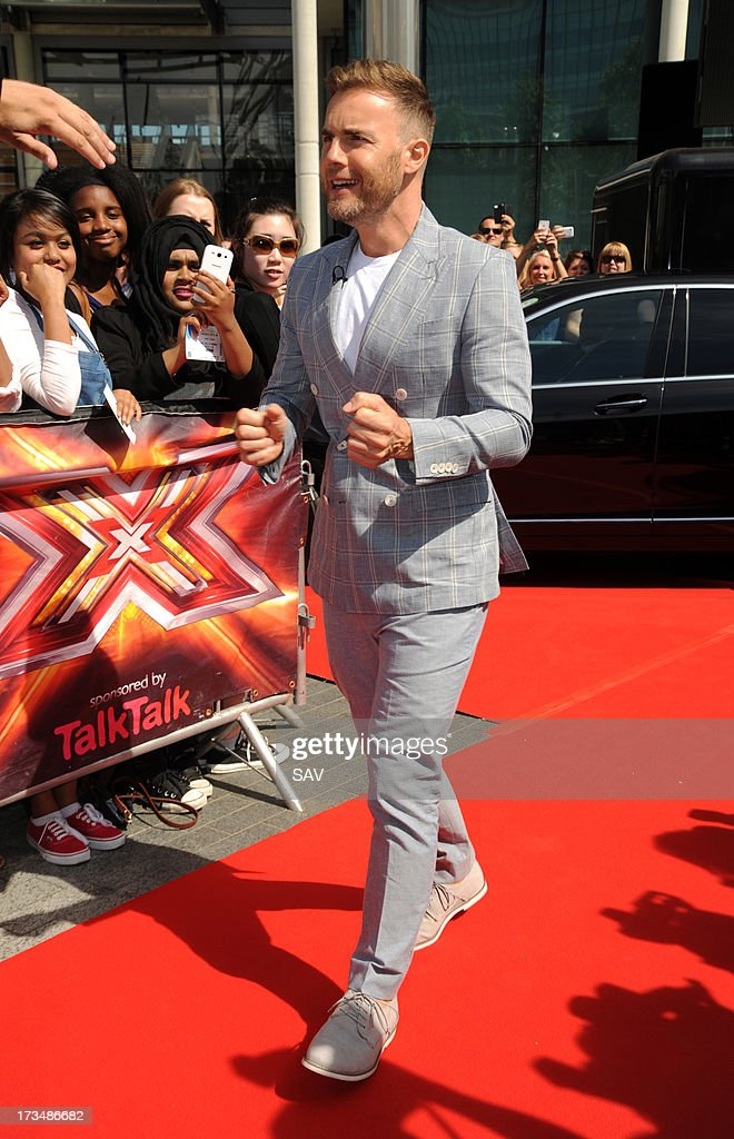 Gary Barlow pictured arriving at Wembley Arena for the X Factor auditions on July 15, 2013 in London, England.