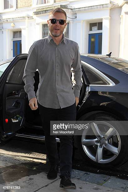 Gary Barlow seen arriving at a Studio to record the official England 2014 FIFA World Cup song for Sport Relief on March 5 2014 in London England