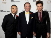 Gary Barlow Sir Terry Wogan and Nick Grimshaw attend the BBC Children in Need Gala hosted by Gary Barlow at The Grosvenor House Hotel on November 11...