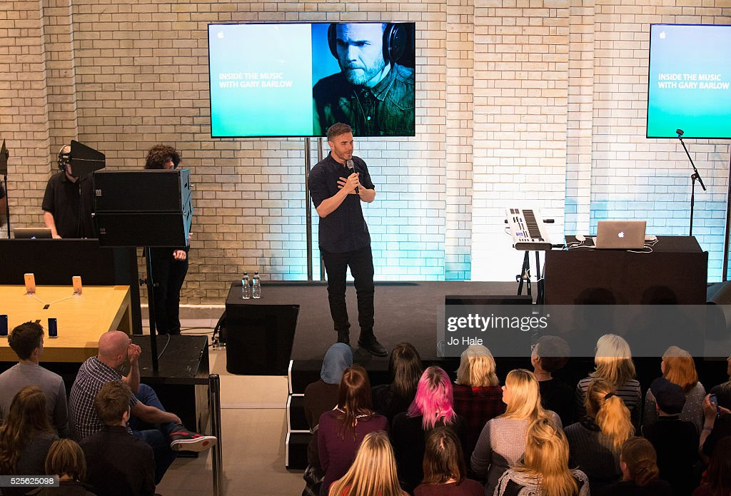 Gary Barlow talks at the Inside The Music With Gary Barlow Event at Apple store, Covent Garden on April 28, 2016 in London, England.
