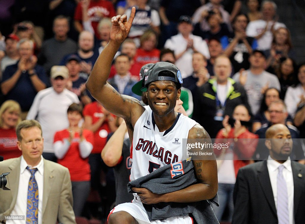 Gary Bell Jr. #5 of the Gonzaga Bulldogs gestures after his team defeated the Saint Mary's Gaels 65-51 in the championship game of the West Coast Conference Basketball tournament at the Orleans Arena March 11, 2013 in Las Vegas, Nevada.
