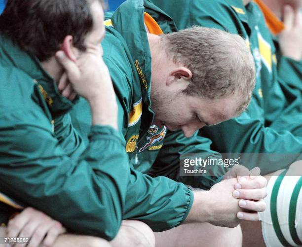 Gary Botha of South Africa waits on the bench during the test match between South Africa and France at Newlands Stadium in Cape Town South Africa