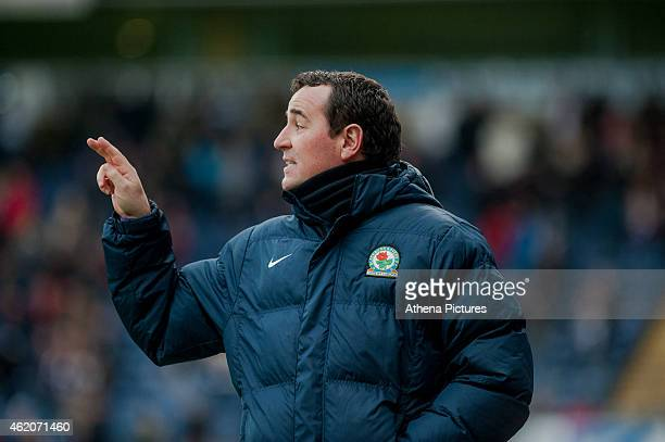 Gary Bowyer Manager Blackburn Rovers gestures during the FA Cup Fourth Round match between Blackburn Rovers and Swansea City at Ewood park on January...