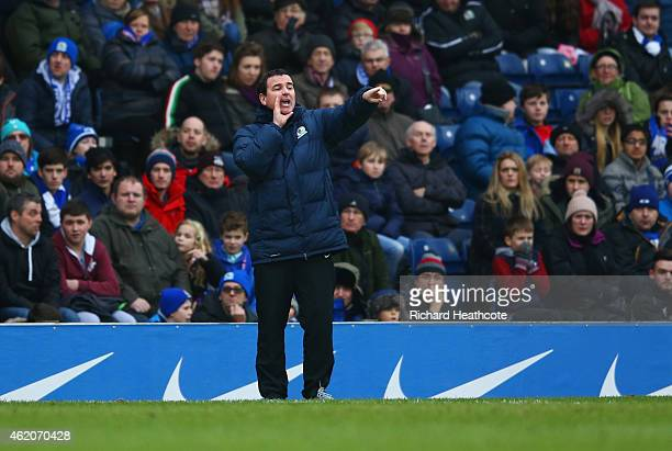 Gary Bowyer manager of Blackburn Rovers gives instructions during the FA Cup Fourth Round match between Blackburn Rovers and Swansea City at Ewood...