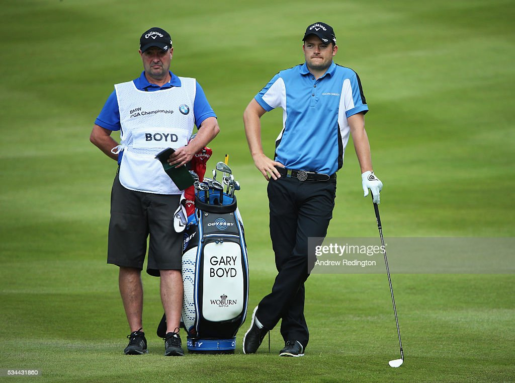 <a gi-track='captionPersonalityLinkClicked' href=/galleries/search?phrase=Gary+Boyd+-+Golfer&family=editorial&specificpeople=4686344 ng-click='$event.stopPropagation()'>Gary Boyd</a> of England looks on during day one of the BMW PGA Championship at Wentworth on May 26, 2016 in Virginia Water, England.