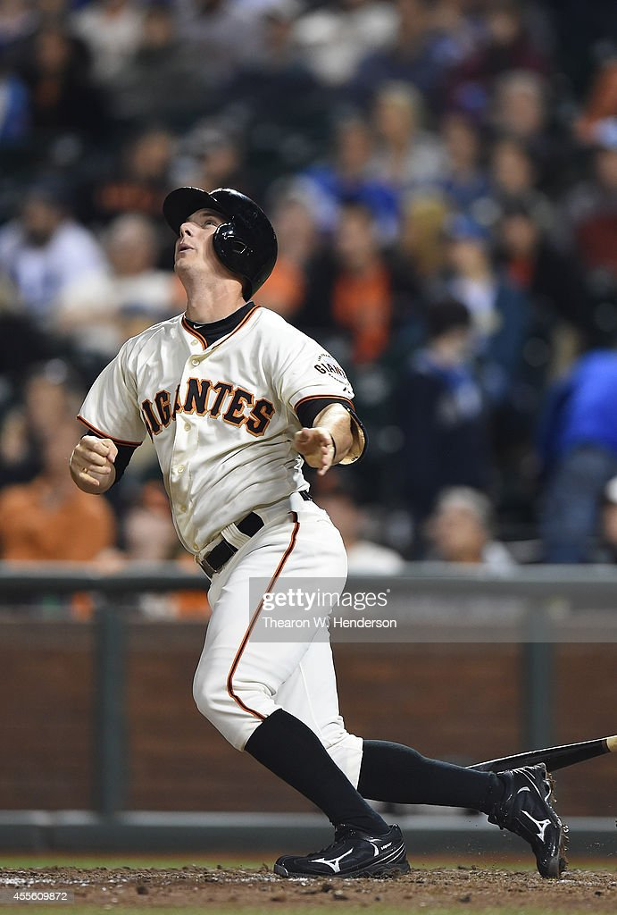 Gary Brown #56 of the San Francisco Giants bats against the Los Angeles Dodgers at AT&T Park on September 13, 2014 in San Francisco, California.