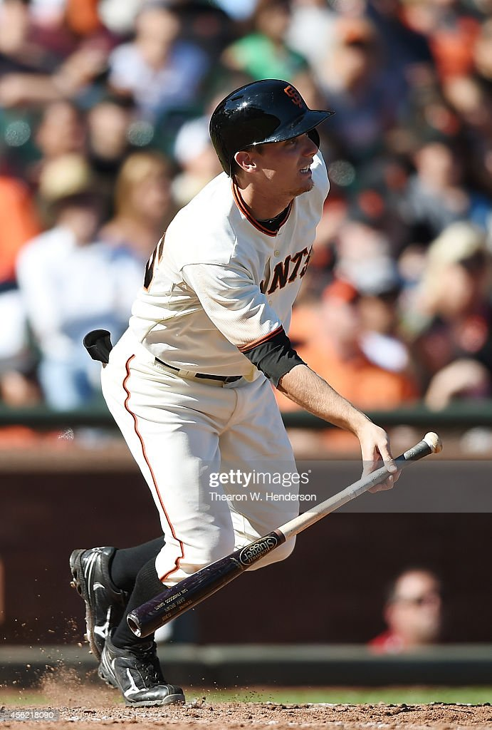 <a gi-track='captionPersonalityLinkClicked' href=/galleries/search?phrase=Gary+Brown&family=editorial&specificpeople=196518 ng-click='$event.stopPropagation()'>Gary Brown</a> #56 of the San Francisco Giants gets an infield hit against the San Diego Padres in the bottom of the eighth inning at AT&T Park on September 27, 2014 in San Francisco, California. The Giants won the game 3-1.