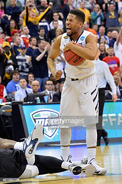 Gary Browne of the West Virginia Mountaineers reacts during the second half against the Buffalo Bulls during the second round of the Men's NCAA...