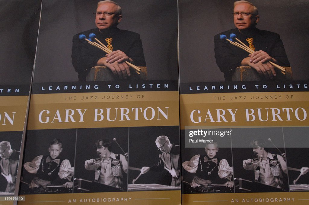 <a gi-track='captionPersonalityLinkClicked' href=/galleries/search?phrase=Gary+Burton&family=editorial&specificpeople=1656848 ng-click='$event.stopPropagation()'>Gary Burton</a>'s autobiography, 'Learning to Listen, The Jazz Journey of <a gi-track='captionPersonalityLinkClicked' href=/galleries/search?phrase=Gary+Burton&family=editorial&specificpeople=1656848 ng-click='$event.stopPropagation()'>Gary Burton</a>', sits on display during day 2 of the Detroit Jazz Festival on August 31, 2013 in Detroit, Michigan.