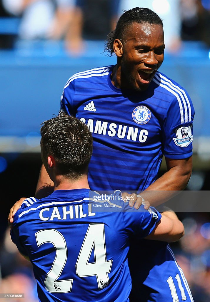 Gary Cahill and Didier Drogba of Chelsea celebrate winning the Premier League title after the Barclays Premier League match between Chelsea and Crystal Palace at Stamford Bridge on May 3, 2015 in London, England. Chelsea became champions with a 1-0 victory.