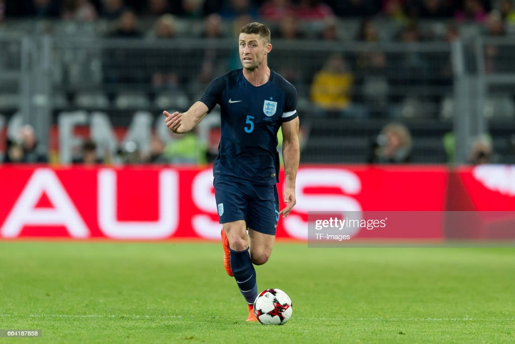 Gary Cahill (ENG) controls the ball during the international friendly match between Germany and England at Signal Iduna Park on March 22, 2017 in Dortmund, Germany.