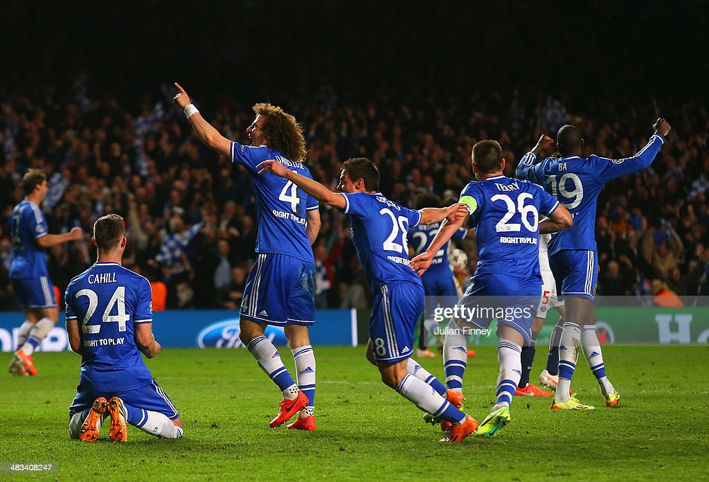Gary Cahill, David Luiz, Cesar Azpilicueta, John Terry and Demba Ba of Chelsea celebrate victory as the final whistle is blown during the UEFA Champions League Quarter Final second leg match between Chelsea and Paris Saint-Germain FC at Stamford Bridge on April 8, 2014 in London, England.