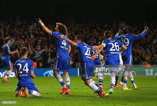 Gary Cahill David Luiz Cesar Azpilicueta John Terry and Demba Ba of Chelsea celebrate victory as the final whistle is blown during the UEFA Champions...
