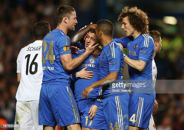 Gary Cahill Eden Hazard Ryan Bertrand and David Luiz of Chelsea celebrate as Fernando Torres scores their first goal during the UEFA Europa League...