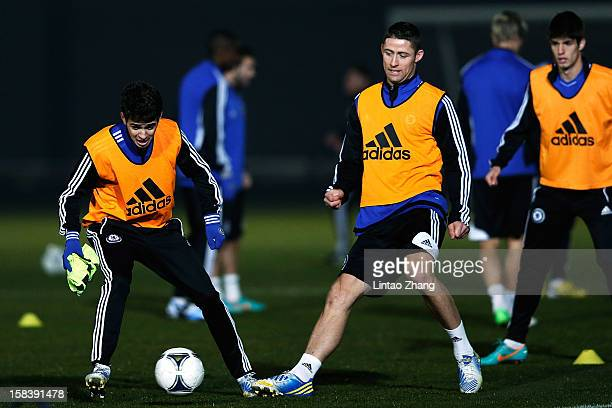 Gary Cahill in action during the Chelsea training session at Marinos Town on December 15 2012 in Yokohama Japan