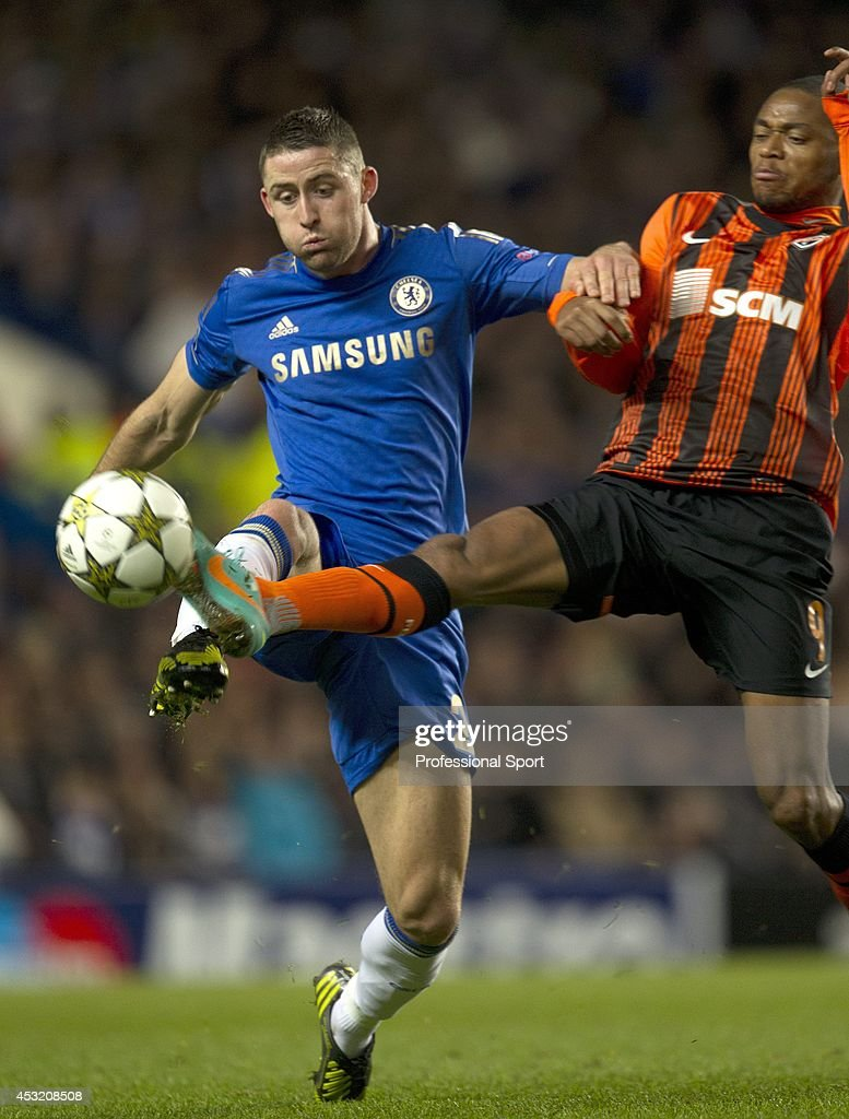 Gary Cahill (left) in action for Chelsea during the UEFA Champions League Group E match between Chelsea and Shakhtar Donetsk at Stamford Bridge on November 7, 2012 in London, England.