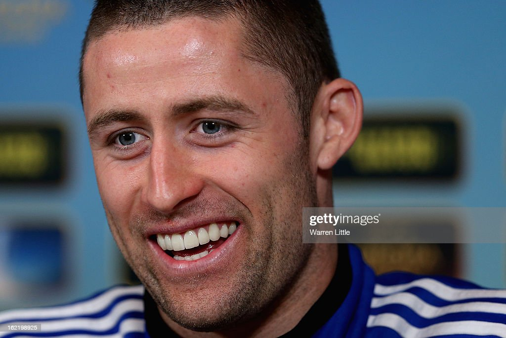 Gary Cahill of Chelsea addresses the media at Cobham training ground on February 20, 2013 in Cobham, England.