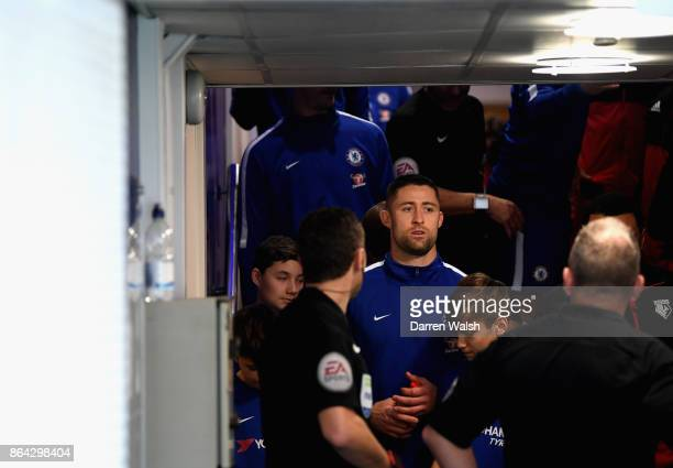 Gary Cahill of Chelsea ahead of the Premier League match between Chelsea and Watford at Stamford Bridge on October 21 2017 in London England