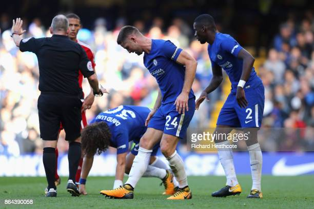 Gary Cahill of Chelsea and Antonio Rudiger of Chelsea recat during the Premier League match between Chelsea and Watford at Stamford Bridge on October...