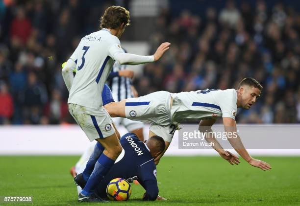 Gary Cahill of Chelsea and Jose Salomon Rondon of West Bromwich Albion compete for the ball during the Premier League match between West Bromwich...