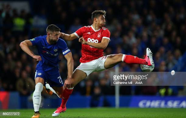 Gary Cahill of Chelsea and Tyler Walker of Nottingham Forest during the Carabao Cup Third Round match between Chelsea and Nottingham Forest at...