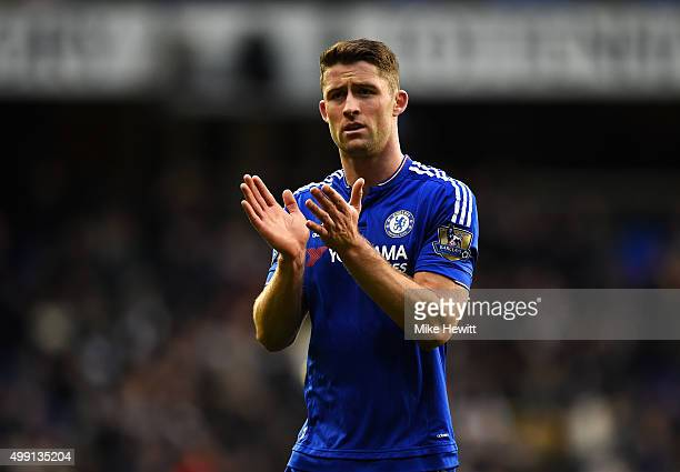 Gary Cahill of Chelsea applauds the crowd after the Barclays Premier League match between Tottenham Hotspur and Chelsea at White Hart Lane on...