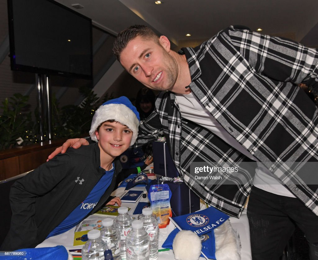 Gary Cahill of Chelsea at the Chelsea FC kids Christmas party December 7, 2017 in London, England.