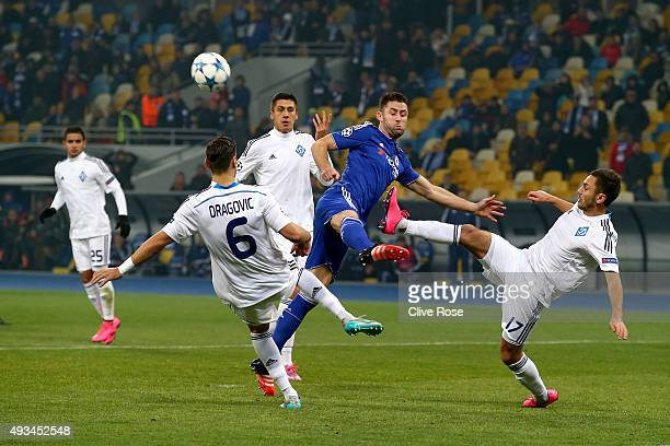 Gary Cahill of Chelsea attempts a shot at goal during the UEFA Champions League Group G match between FC Dynamo Kyiv and Chelsea at the Olympic...