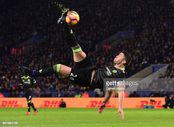 Gary Cahill of Chelsea attempts an overhead shot on goal during the Premier League match between Leicester City and Chelsea at The King Power Stadium...