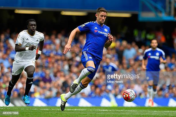 Gary Cahill of Chelsea breaks with the ball during the Barclays Premier League match between Chelsea and Swansea City at Stamford Bridge on August 8...