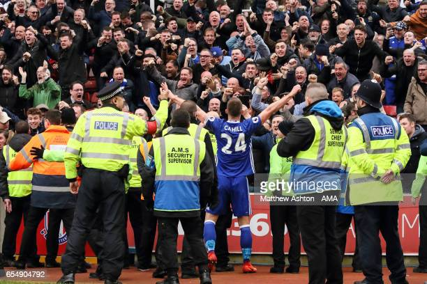 Gary Cahill of Chelsea celebrates after scoring a goal to make it 12 during the Premier League match between Stoke City and Chelsea at Bet365 Stadium...