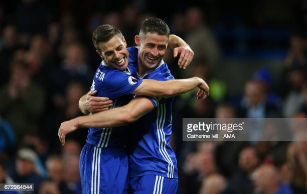 Gary Cahill of Chelsea celebrates after scoring to make it 21 with Cesar Azpilicueta of Chelsea during the Premier League match between Chelsea and...