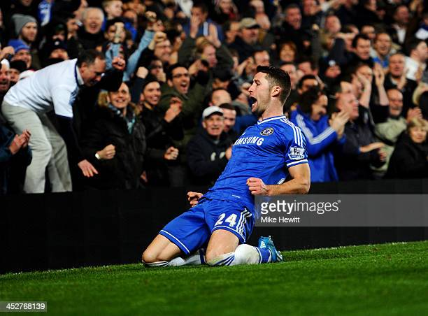Gary Cahill of Chelsea celebrates as he scores their first goal during the Barclays Premier League match between Chelsea and Southampton at Stamford...
