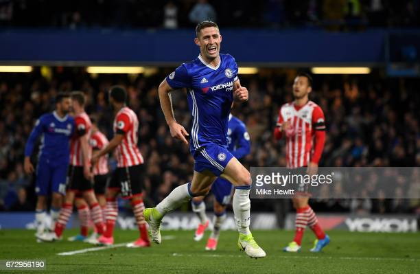 Gary Cahill of Chelsea celebrates as he scores their second goal during the Premier League match between Chelsea and Southampton at Stamford Bridge...