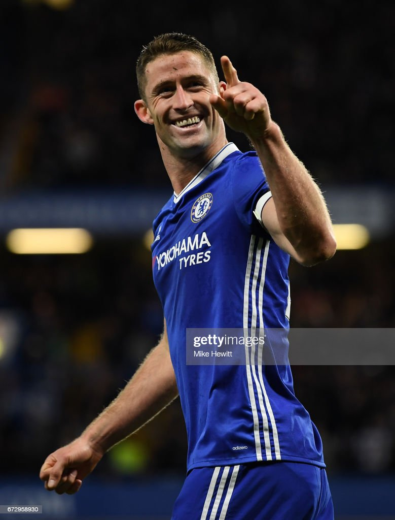 Gary Cahill of Chelsea celebrates as he scores their second goal during the Premier League match between Chelsea and Southampton at Stamford Bridge on April 25, 2017 in London, England.