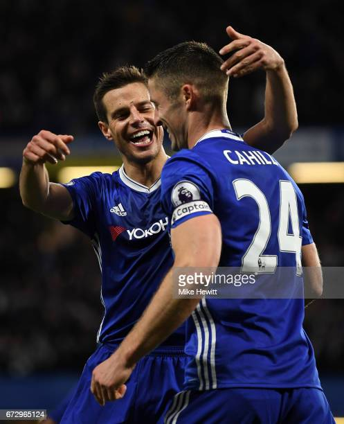 Gary Cahill of Chelsea celebrates as he scores their second goal with Cesar Azpilicueta during the Premier League match between Chelsea and...